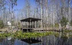 Minnies Lake Rest Dock, Okefenokee Swamp National Wildlife Refuge. Wooden platform rest dock, Minnies Lake, Okefenokee canoe kayak trail, red trail Suwannee Stock Images