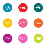 Minnow icons set, flat style. Minnow icons set. Flat set of 9 minnow vector icons for web isolated on white background Royalty Free Stock Photo