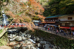 Mino Waterfall in the autumn, Osaka, Kansai, Japan. Osaka, Japan - November 27, 2015: Mino waterfall in Mino Quasi-national Park in Osaka, tourists enjoy to take Stock Images