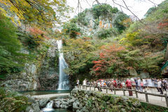 Mino Waterfall in the autumn, Osaka, Kansai, Japan. Osaka, Japan - November 27, 2015: Mino waterfall in Mino Quasi-national Park in Osaka, tourists enjoy to take Stock Photos