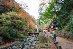 Mino Waterfall in the autumn, Osaka, Kansai, Japan. Osaka, Japan - November 27, 2015: Mino waterfall in Mino Quasi-national Park in Osaka, tourists enjoy to take Stock Photography