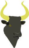 Minoan bull. Minoan type black bull with golden horns on a white background Royalty Free Stock Photos