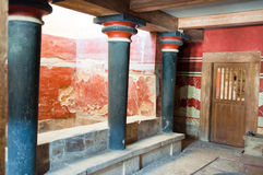 The Minoan columns in the Knossos palace on the island of Crete, Greece. Royalty Free Stock Photo
