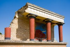 Minoan Palace at Knossos. Scenic view of reconstruction of Minoan palace at Knossos with Bull Fresco, Crete, Greece Royalty Free Stock Image