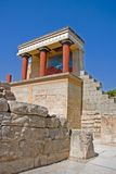 Minoan palace at Knossos. Scenic view of reconstruction of Minoan palace at Knossos with Bull Fresco, Crete, Greece Stock Image