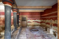 Crete, Greece - January, 2016. Minoan palace of Knossos. The Throne Room stock image