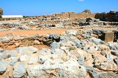 Minoan palace ruins, Malia. General view of buildings within the Minoan Malia ruins archaeological site, Malia, Crete, Greece, Europe Royalty Free Stock Photo