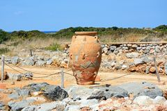 Minoan Pot, Malia. Ancient large terracotta pot at the Minoan Malia ruins archaeological site, Malia, Crete, Greece, Europe Royalty Free Stock Photo
