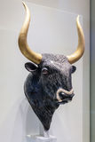 Minoan rhyton in form of a bull in the Heraklion Archaeological. CRETE, GREECE - JULY 26, 2015: Minoan rhyton in form of a bull in the Heraklion Archaeological Stock Photography