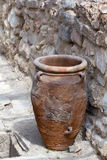 Minoan storage jar at Knossos. Minoan storage jar called pithoi at Knossos archaeological site in Crete (Greece Royalty Free Stock Photos