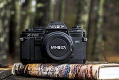 Minolta 35mm obiektywu refleksowa kamera zdjęcia stock