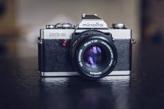 Minolta Silver and Black 35 Mm Camera Stock Photo