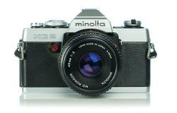 A Minolta XG2 35mm analog film camera. NIEDERSACHSEN, GERMANY April 9, 2019: A Minolta XG2 35mm analog film camera on a white background stock photography