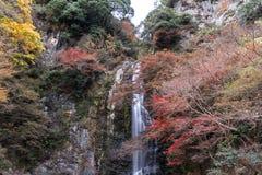 Minoo瀑布在秋天, Minoh公园,大阪,日本 免版税图库摄影