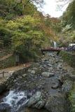 Minoo瀑布的游人在大阪,日本 免版税库存图片