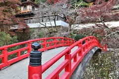 Minoo, Osaka. Red Japanese bridge in Minoo Quasi-National Park near Osaka, Japan Royalty Free Stock Images