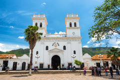 Minor Basilica in Giron, Colombia. GIRON, COLOMBIA - MAY 3: View of the basilica and main plaza in Giron, Colombia on May 3, 2016 Royalty Free Stock Images