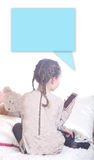 Minor girl talks to a stranger. In a chat Royalty Free Stock Photo