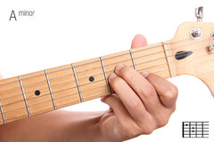 A minor guitar chord tutorial Royalty Free Stock Images