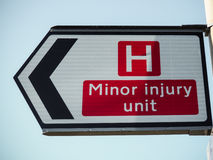 Minor injury unit sign. Seen in UK Royalty Free Stock Photo