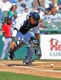 Minor League baseball catcher wild pitch Stock Photo
