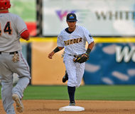 Minor league baseball - force play at second Royalty Free Stock Image