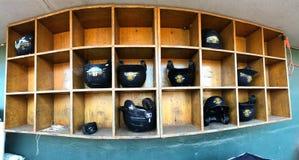 Minor League Baseball Helmet Rack Stock Photography