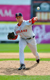 Minor League baseball pitcher - delivery (lefty) Royalty Free Stock Images