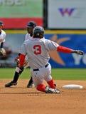 Minor League baseball stolen bsae try Stock Photo