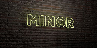MINOR -Realistic Neon Sign on Brick Wall background - 3D rendered royalty free stock image. Can be used for online banner ads and direct mailers Stock Photo