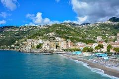Minori, miasteczko na Amalfi brzegowym Tyrrhenian morzu i popularnym turystycznym miejscu przeznaczenia Obraz Royalty Free
