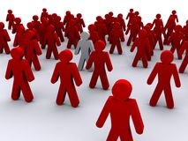 The minority in the crowd. 3D Image of a man in a gathering of other men, a metaphor for being outstanding or a minority vector illustration