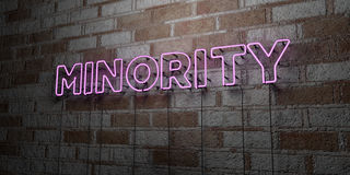 MINORITY - Glowing Neon Sign on stonework wall - 3D rendered royalty free stock illustration. Can be used for online banner ads and direct mailers Royalty Free Stock Images