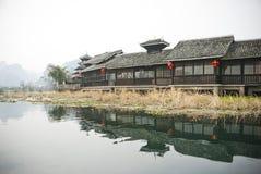 Minority style buildings, Yangshuo, Baishai, Guilin, China Royalty Free Stock Images