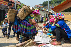 Minority tribe women trading at open street market. Stock Photos