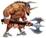 Minotaur στο λευκό Στοκ Εικόνα