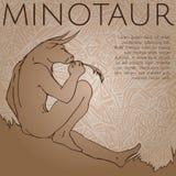 minotaur Греческая мифическая тварь также вектор иллюстрации притяжки corel Стоковое Изображение RF