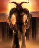 Minotaur. Greek mythology monster illustration art Stock Photography