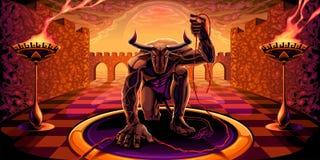 Minotaur i labyrinten med en glödtråd i hans hand arkivbilder