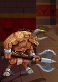 Minotaur. In the Labyrinth. No transparency used. Basic (linear) gradients Royalty Free Stock Images