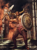 Minotaur with a shield and spear Stock Photos