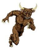 Minotaur-Stier trägt Maskottchenbetrieb zur Schau Stockfoto