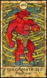 Minotaur. Ten of pentacles. Fantasy Creatures Tarot full deck. Minor arcana. Hand drawn graphic illustration, engraved colorful painting with occult symbols Royalty Free Stock Images