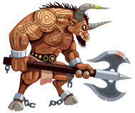 Minotaur on White. Minotaur over white background. No transparency and gradients used Stock Image