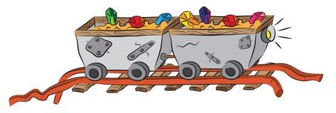 Minować furmani na kolei ładującej cennymi kryształami rudnymi Fotografia Royalty Free