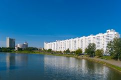 Minsk. Belarus. River Svisloch embankment Royalty Free Stock Photography