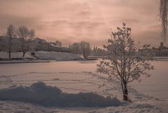 Minsk. Winter sunset over snowy Minsk Royalty Free Stock Photography