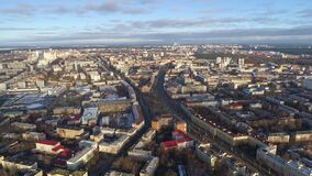 Minsk aerial drone shot autumn of the city center view from above attraction recreation. Minsk aerial drone shot autumn of the city center downtown view from stock footage