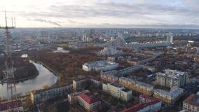 Minsk aerial drone shot autumn of the city center view from above attraction recreation. Minsk aerial drone shot autumn of the city center downtown view from stock video footage