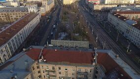 Minsk aerial drone shot autumn of the city center view from above attraction recreation. Minsk aerial drone shot autumn of the city center downtown view from stock video